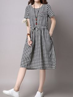 36b9c5c31bf Vintage Women Short Sleeve Plaid Print Waist Slim Dresses at Banggood