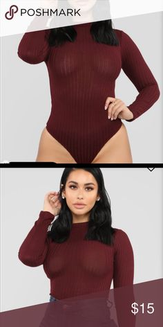 4c53b9dac75 NWT fashion nova burgundy Bodysuit Bundle and save ! Deep wine color Fashion  Nova Tops
