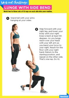 Work Your Abs AND Booty with This Buy-One-Get-One-Free Lunge Variation  http://www.womenshealthmag.com/fitness/lunge-with-side-bend-challenge