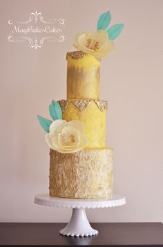 Yellow and gold Birthday Cake by May Bakes Cakes via Cake Central