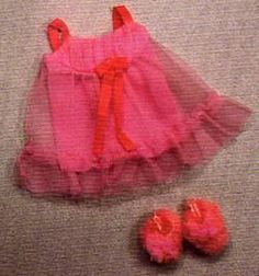 I thought the Fuzzy slippers were the bomb!  Barbie Doll Vintage Clothes 1971