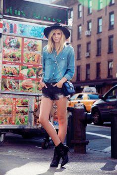 Denim shirt + hat