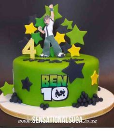Risultati immagini per ben 10 fondant cake Ben 10 Birthday, 4th Birthday Cakes, 10th Birthday Parties, Ben 10 Cake, Jake Cake, Ben 10 Party, Little Boy Cakes, Cakes For Boys, Bolo Do Ben 10