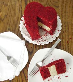 """Mini 6"""" Red Velvet Cheesecake Layer Cake (Made in a DIY disposable heart shaped pan) for Valentine's Day-> Would be so cute for a wedding dessert bar!  Or as a tasty centerpiece for each table!"""