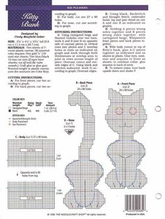 KITTY BANK by CINDY MAXFIELD GOBER 2/2 Plastic Canvas Crafts, Plastic Canvas Patterns, Cross Stitch Patterns, Stitching Patterns, Cat Crafts, 4 Kids, Cross Stitching, Needlepoint, Cats And Kittens
