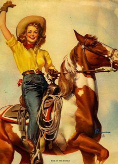 Back in the Saddle (Close Pals), 1946   Gil Elvgren pinup #pinupartsource #elvgren