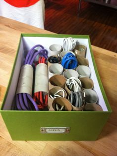 Toilet paper roll cord organizer! You'll never have a tangled mess again.