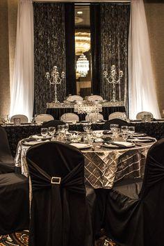 Bling Wedding Decor  #wedding #decor #reception #lachefs #catering #events #blackandwhite #elegant #uplight #rosetteskirt #beadedcurtain #backdrop #pintuck #bling