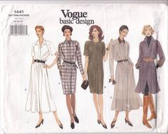 Dress Loose Fit Flared Straight Variations Vogue Sewing Pattern 1441 Uncut 14-18 #Vogue #plussizedress