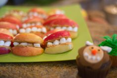 Monster mouth snack sandwiches - apples, pb&j, marshmallows. Where the Wild Things Are - party food