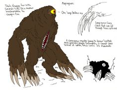 The mapinguari:  is a legendary cryptid said to resemble an ape–like creature with red fur living in the Amazon rainforests of Brazil and Bolivia, According to native folklore the creature has a series of unnatural characteristics related to other fantastic beings of Brazilian mythology. These include the creature only having one eye, long claws, caiman skin, backward feet and a second mouth on its belly. In more recent alleged eyewitness accounts it has consistently been described as…