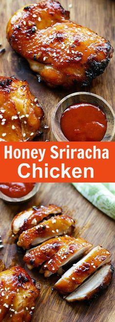 Honey Sriracha Chicken – crazy delicious chicken with honey sriracha marinade. Make it on a skillet, bake or grill for dinner tonight | http://rasamalaysia.com
