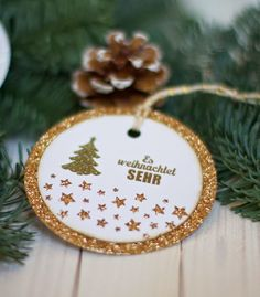 conibaer: glimmer christmad-ornament #tag #stampinup
