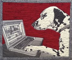 """Reggie The Dalmation Checking Tulsa Town Hall FaceBook Page, 10""""w x 8""""h, 2013, by Sherry Kleinman"""