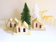 Antique Putz Houses Christmas Decor Japan by RollingHillsVintage