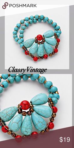 Double strand Howlite colored beads & coral beads Double strand stretch bracelet with turquoise and coral colored beads. These are semi precious Howlite and dyed. W Stones & Beads Jewelry Bracelets