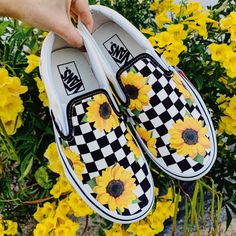Sunflower Checker Slip On Vans Related posts: sunflower vans 🌻 Vans Slip On Checkerboard Grey, Dawn & White Shoes Custom Hand-painted Sunflower Vans Slip-On Shoes Slip On Running Flat Sneakers Dr Shoes, Vans Slip On Shoes, Custom Vans Shoes, Custom Painted Shoes, Hype Shoes, Custom Sneakers, Me Too Shoes, Custom Made Vans, Painted Vans