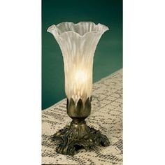 Meyda Tiffany 11259 Stained Glass / Tiffany Accent Specialty Table Lamp from the Lilies Collection, White