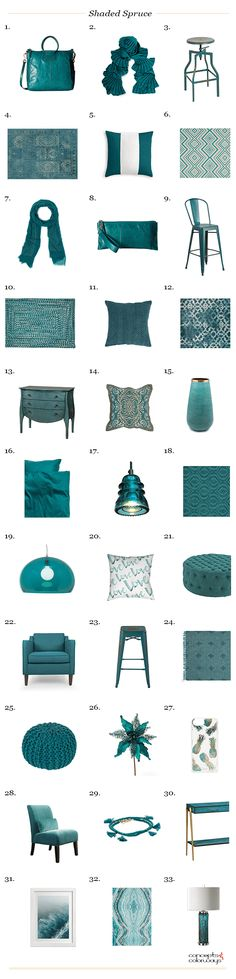 pantone shaded spruce, interior design product roundup, get the look, color for interiors, teal, teal blue, teal green, jade, blue-green, green-blue