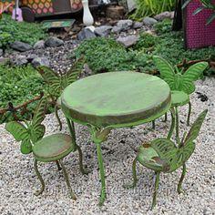Flutter Table and Chairs #MiniatureGardening #FairyGarden