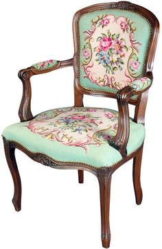 This is a classic French Arm Chair which is upholstered in beautiful wool  needlepoint fabric Original Vintage Queen Anne Style Wing Chair with Crewel  . Antique Queen Anne Upholstered Chairs. Home Design Ideas
