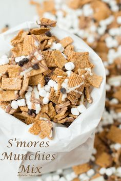 s'mores munchies snack mix on ohsweetbasil.com #smores