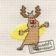 Stitchlets Christmas Card Cross Stitch Kit - Happy Rudolph