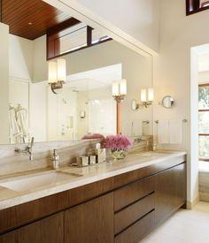 cream vanity top & tiles/wooden veneer joinery