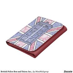 British Police Box and Union Jack Flag Illustrated Wallet