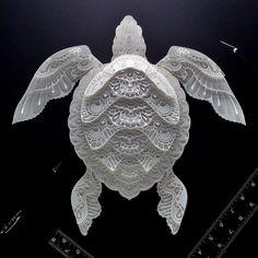Patrick Cabral Endangered Species Series In Cut Paper - Sea Turtle