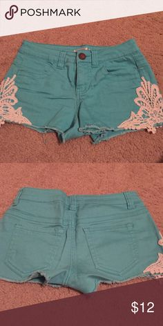 Turquoise and White Lacey shorts Size 1 shorts from Belk, great condition! love Fire Shorts Jean Shorts
