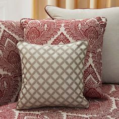 Warwick Fabrics: LUXEMBOURG #Upholstery #Cushions #Fabric #Textiles #Gold #Red