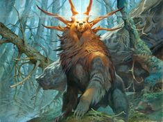 Ayula, Queen Among Bears MtG Art from Modern Horizons Set by Jesper Ejsing Monster Concept Art, Fantasy Monster, Monster Art, Mythical Creatures Art, Mythological Creatures, Magical Creatures, Creature Concept Art, Creature Design, Mtg Art