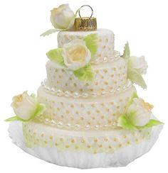 Bride and Groom I Do Celebration Wedding Cake Glass Holiday Ornament