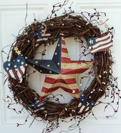 Primitive Patriotic Wreath Stars and Stripes Americana Folk Decor