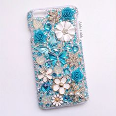 iPhone 6 Plus Blue Butterfly Phone Case- Handmade Vintage Statement Necklace Key Jewelry Flower Cellphone Case Bling Metal Silver White by AishasAccessories on Etsy https://www.etsy.com/listing/241708853/iphone-6-plus-blue-butterfly-phone-case