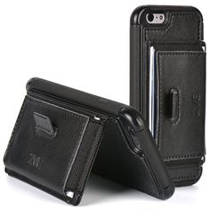 """Amazon.com: ZVE® Full-body Protection Case, iPhone 6 Plus Case, Apple iPhone 6 Plus Case 5.5 Inch Slim Leather Wallet Cover with Stand Feature and Credit Card ID Holders for iPhone 6 Plus 5.5"""" (Black): Cell Phones & Accessories"""