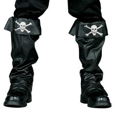 Adult Pirate Skull Costume Boot Covers, Men's, Black