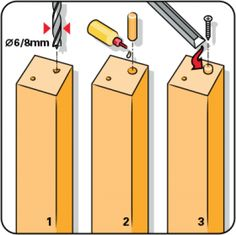 Do you need to drill a hole at a specific angle? Then you can make a wooden drilling accessory with an edge at the same angle. Hold the drill against the angled edge, and then you can be sure you're drilling at the right angle. Woodworking Tools For Beginners, Woodworking Tips, Serra Circular, Drilling Holes, Wooden Handles, Wooden Diy, Furniture Making, Hana, Diy For Kids