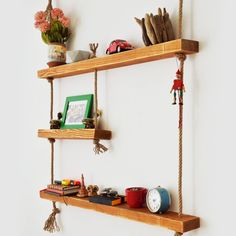 Massive Handmade 3 Shelves with Rope Custom Jewelry Design, Custom Design, Wood Shelves, Floating Shelves, How To Make Rope, All Wall, Raw Materials, Natural Wood, Playroom