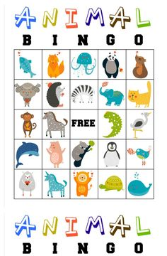 free printable animal bingo cards for toddlers and preschoolers