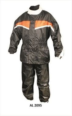 Motorcycle Rain Suit Jacket w Matching Trouser Reflective Stripe Elastic Waist  Ready for Spring/Summer Rains