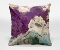 Throw pillow with abstract art, 16x16, 18x18, 20x20, tan and purple decorative accent pillow, finished complete pillow, Plum Creek 2