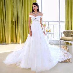>> Click to Buy << Elegant Maternity Wedding Dresses Tulle Applique Beaded Veatido De Novia Off The Shoulder Chapel Train Beach Bridal Gown ZX1394 #Affiliate