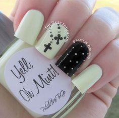 Glow in the dark nail polish, love the crosses!