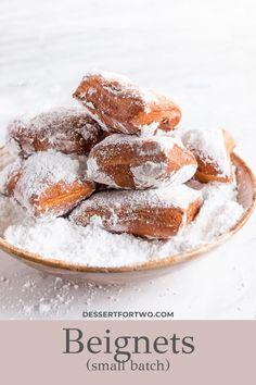 Beignets, a small batch recipe. A taste of Cafe du Monde New Orleans at home! Recipe makes just 8 small beignets in about 90 minutes. New Year's Desserts, Holiday Desserts, Delicious Desserts, Dessert Recipes, Donut Recipes, Baking Recipes, Bread Recipes, Mini Desserts, Kitchens