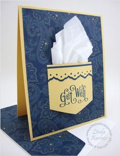 handmade Get Well card ... pocket with real kleenix ... luv the blue paisley background paper ... Stampin' Up!