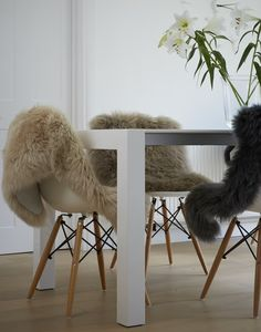 Sheepskin rugs for dining chairs genuine superior sheepskin for a nordic look by Swedishdalahorse on Etsy