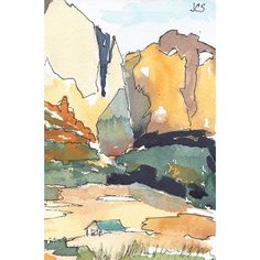 Watercolor Painting Landscape ($20) ❤ liked on Polyvore featuring home and home decor