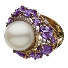 Amethyst, pearl, and diamond ring by Utopia